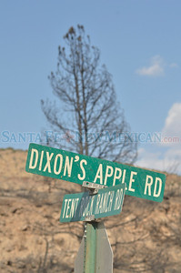 Dixon's Apple Orchard on the Cochiti Mesa is facing destruction. The family has been evacuated from the area, making rebuilding impossible, because of imminent flooding that will likely destroy the orchard. Bulldozers are in place to trudge the canyon, but the state land office is holding them back. Jim and Becky Mullane Martin Urban Clyde Mueller/The New Mexican