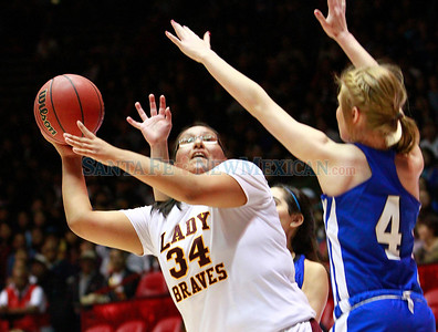 Santa Fe Indian School girls basketball team vs. Lovington during a championship game at the state basketball tournament at the Pit in Albuquerque, N.M. on March 9, 2012.  Photos by Natalie Guillén/The New Mexican