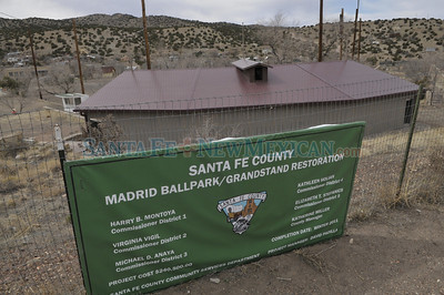 The grandstand of the Madrid Oscar Huber Memorial ballpark renovation was funded with a $240,500,00 Madrid Ballpark/Grandstand Restoration grant from Santa Fe County. The project, which included removal of old wooden grandstands, is nearing completion in time for a Memorial Day grand opening as a revamped community facility. Clyde Mueller/The New Mexican