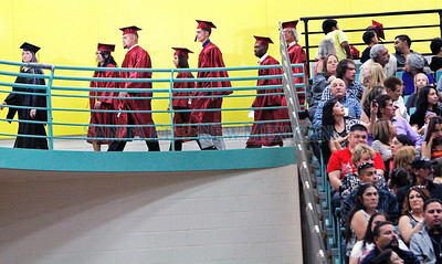 Santa Fe Community College Graduation at the William C. Witter Fitness Education Center on Wednesday, May 22, 2013.  385 graduates walked and 721 received Associate in Arts and certificates. Mayor of San Antonio Mr. Julian Castro was the keynote speaker at the largest graduation in 29 years.   Jane Phillips/The New Mexican