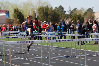 Santa Fe High  Jeff Sward placed first in the 110 boys hurdle and qualified for state during the  Capital City Invitational track and field meet at Santa Fe High on Saturday, April 14, 2012.  Photos by Jane Phillips/The New Mexican