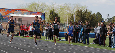 Santa Fe High Senior Josh Roybal placed first in the 100 boys meter dash with a score of 1066 during the  Capital City Invitational track and field meet at Santa Fe High on Saturday, April 14, 2012.  Photos by Jane Phillips/The New Mexican
